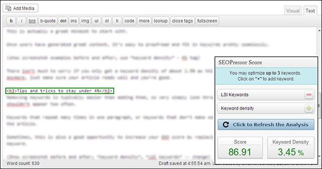 reducing keyword density