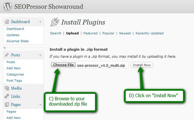 install seoPressor plugin