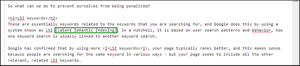Using LSI keyword