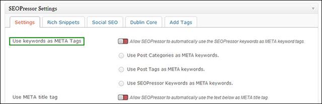 configure meta keywords