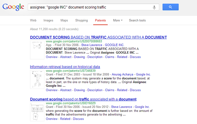 Google Patent - Higher traffic equals higher ranking