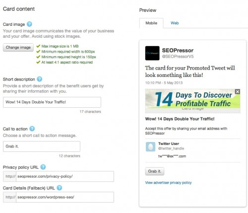 how to setup twitter lead generation card