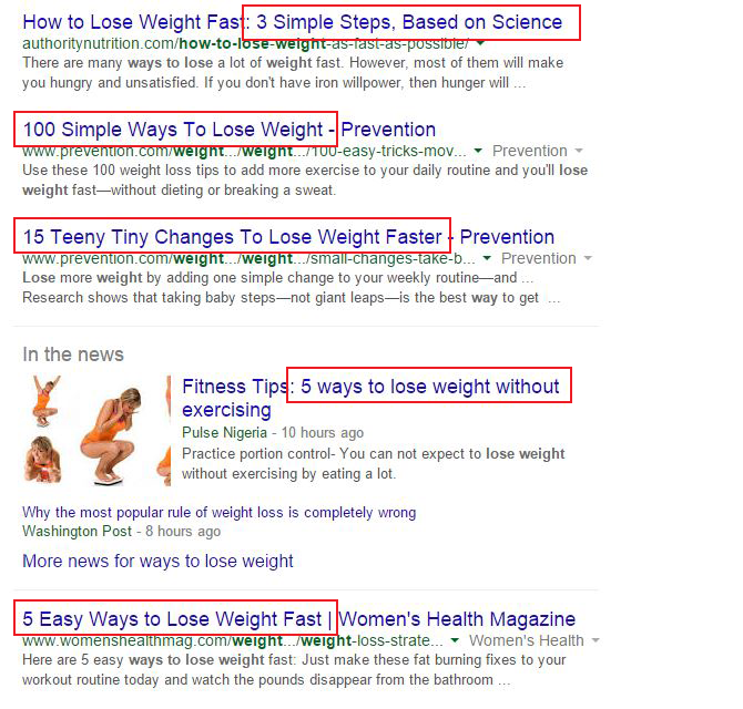 list type headlines on google first page