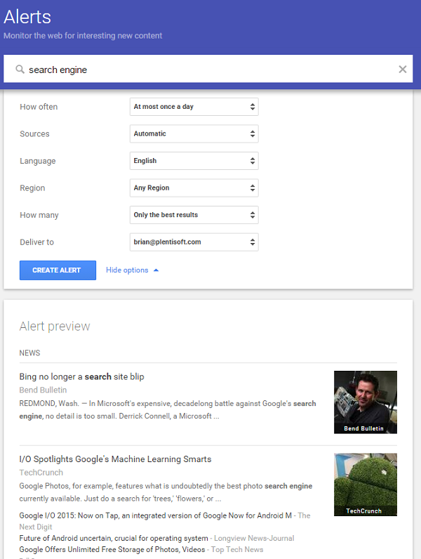 google alert for SEO audit
