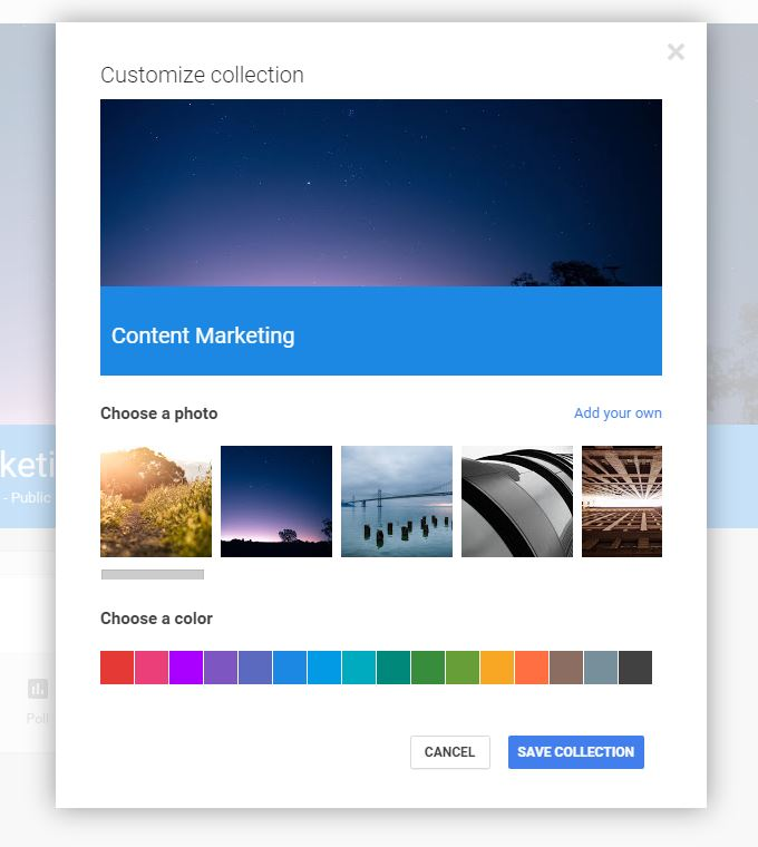 google+ collections for marketers