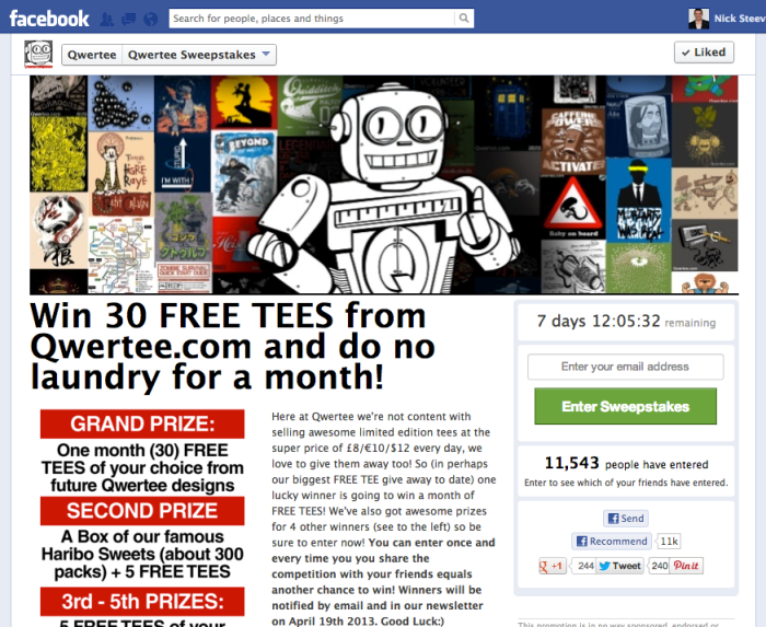 Qwertee is well-known for giving away t-shirts regularly on their popular sweepstakes.