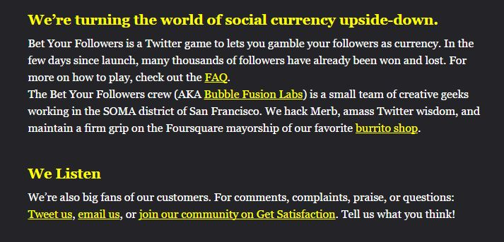 bet your followers faq page overdone