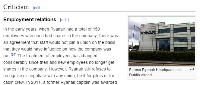 Ryanair's infamous PR controversies is featured in their Wikipedia page.