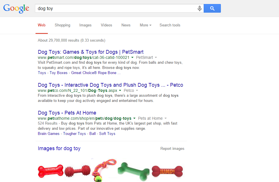 dog toy - Google Search user experience