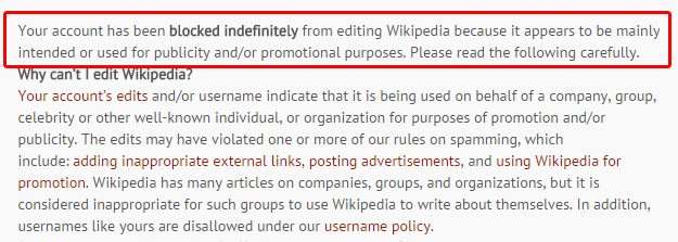 Yep, Wikipedia does not appreciate self-promotion.