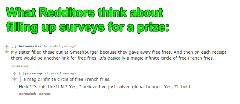 That's right folks. Surveys can solve global hunger.