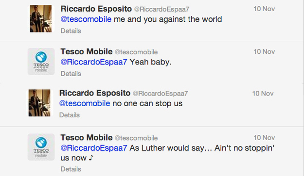 Tesco are well-known in Twitter for their personal engagement with their followers.