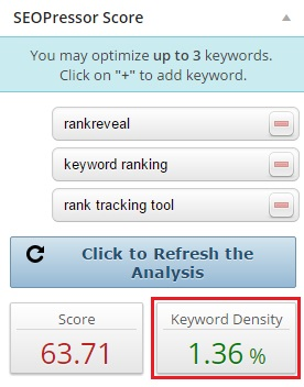 SEOPressor will automatically calculate the keyword density score for you.