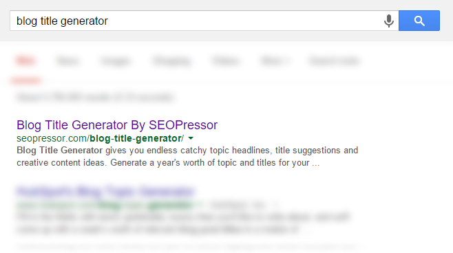 Blog title generator search result screenshot