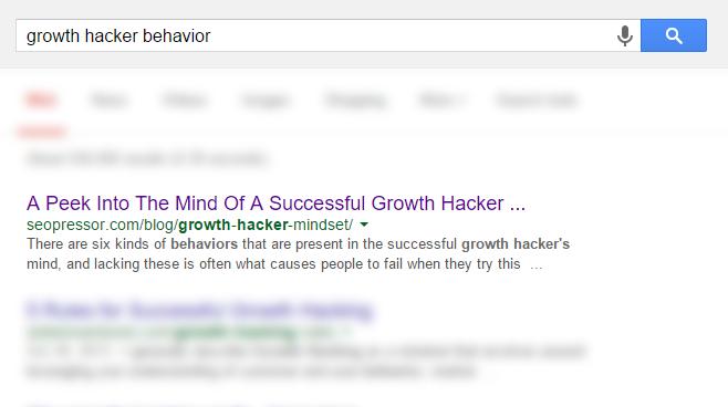 Growth Hacker Behavior Screenshot