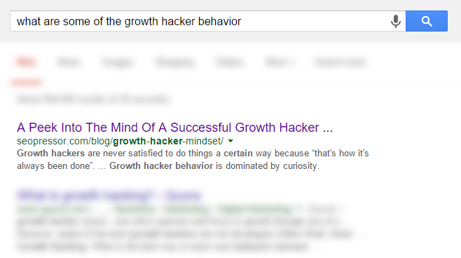 What are some of the growth hacker behavior screenshot.