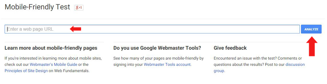 Google Webmaster Tool - Mobile Friendly Checker