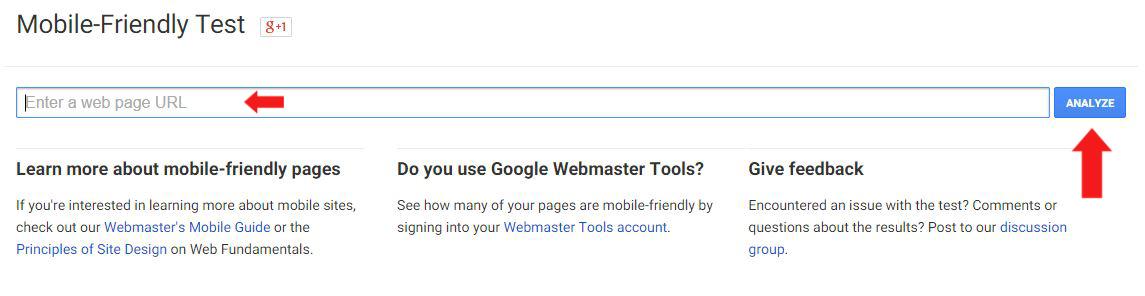Google Webmaster Tool - Mobile Friendly Checker