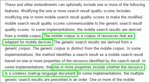 Trait's of a mobile-friendly website according to this patent.