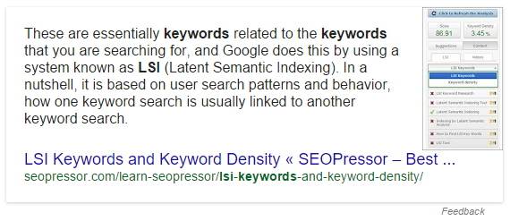 on page seo KnowledgeGraph example
