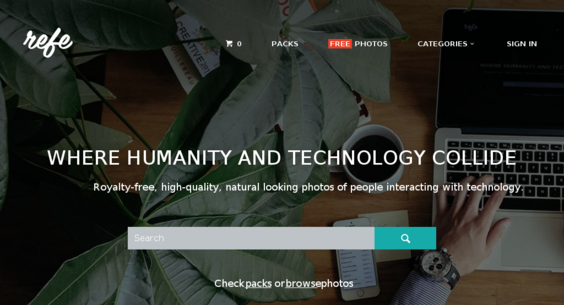 A marketplace of high quality photos of people interacting with technology.