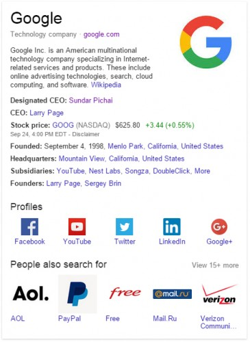 A typical Knowledge Graph display.