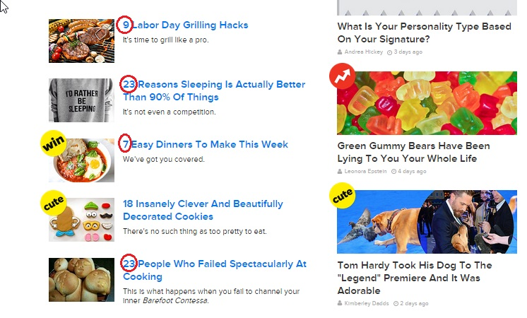 Some of the popular list headlines on Buzzfeed.