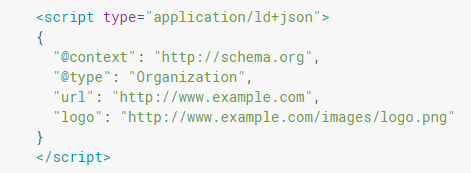 A Schema Markup describing that the website represents an organization and the image that represents their company logo.