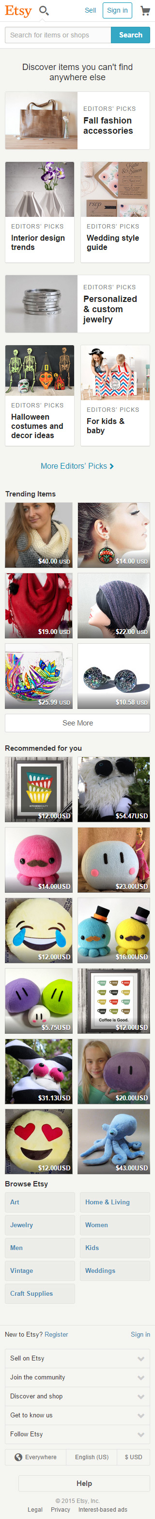 etsy mobile friendly example