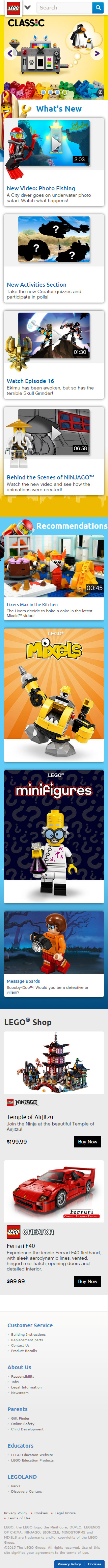lego mobile-friendly website example