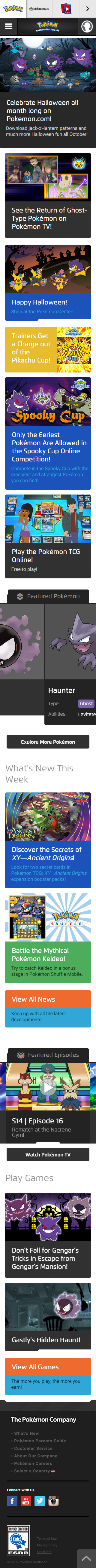 pokemon mobile website