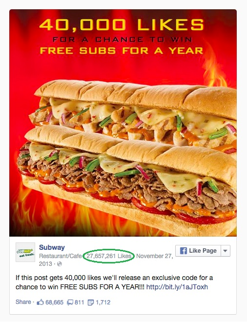 Subway's contest gone viral - look at how many likes they've got!