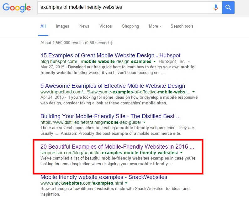 examples of mobile friendly websites