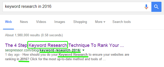 Analyze how top-ranking results include the target keywords in their Title, URL and metadata.