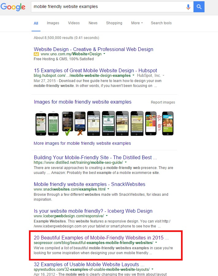 mobile friendly website examples