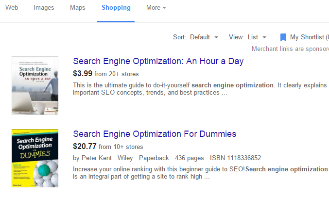 Shopping results can give insights on the marketability of any keywords.