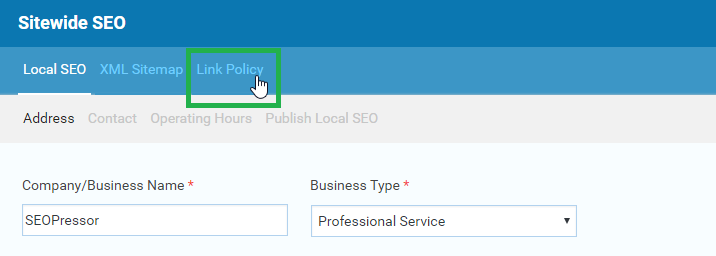setting up sitewide link policy