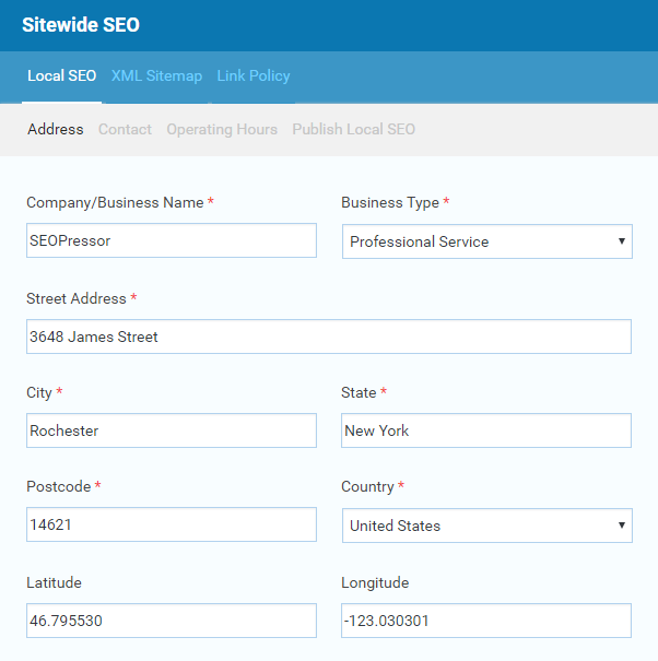 SEOPressor Connect Local SEO feature