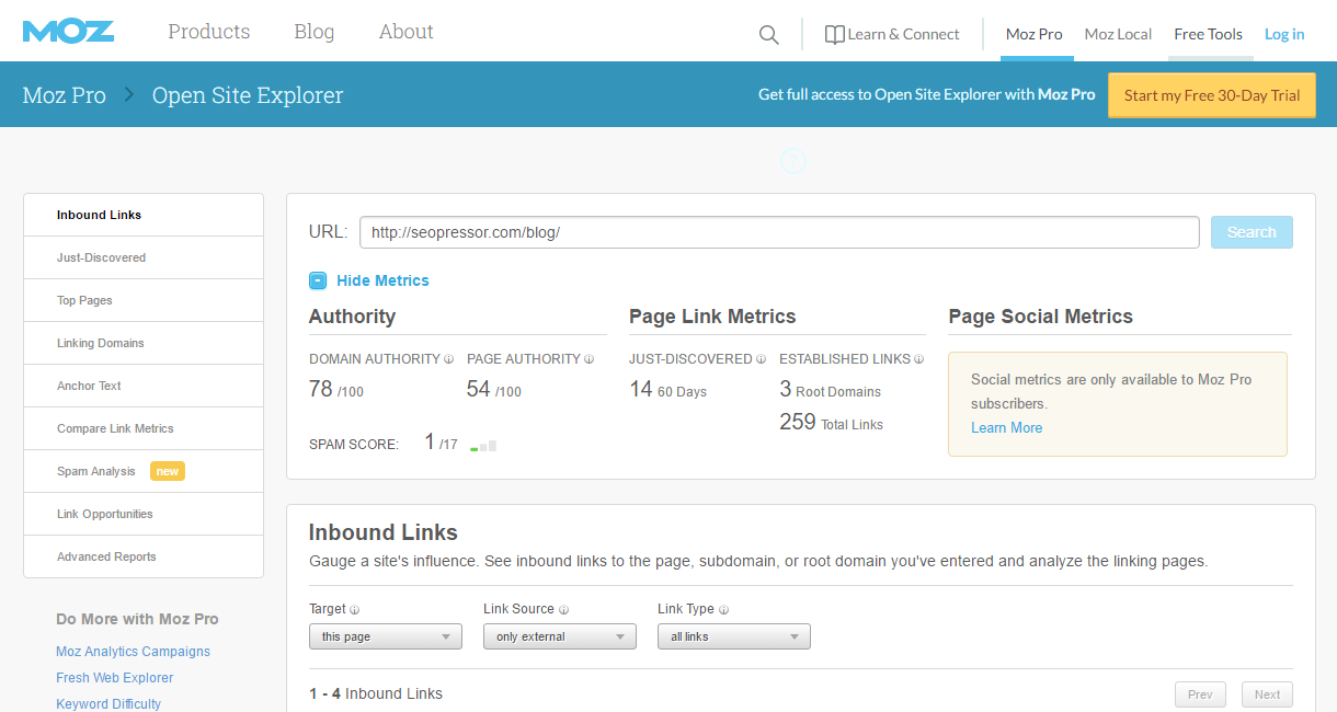moz domain authority