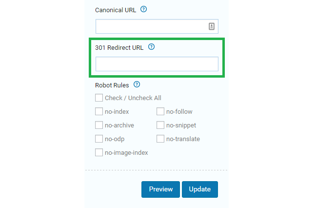 Here's where you key in the 301 Redirect URL in SEOPressor Connect on where you want your website/blog post to redirect to.