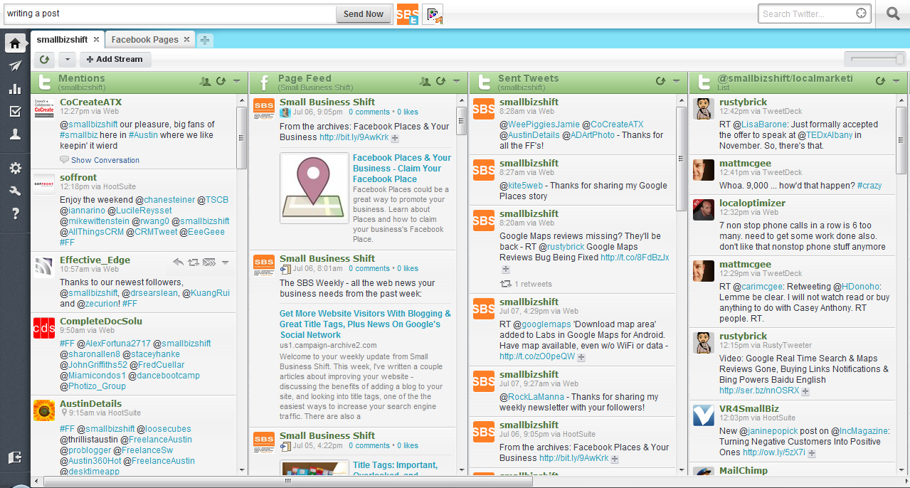 Hootsuite allows you to monitor and manage multiple social media accounts across multiple platforms at the same time.