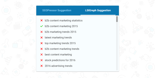Website SEO Checker will also provide you with a list of LSI Keywords