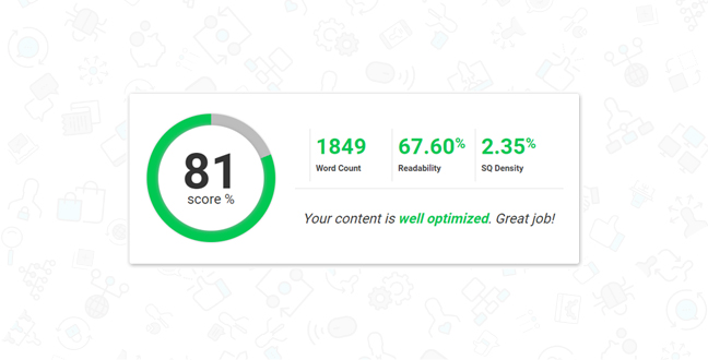 Your SEO score is how well you will rank for your target keyword