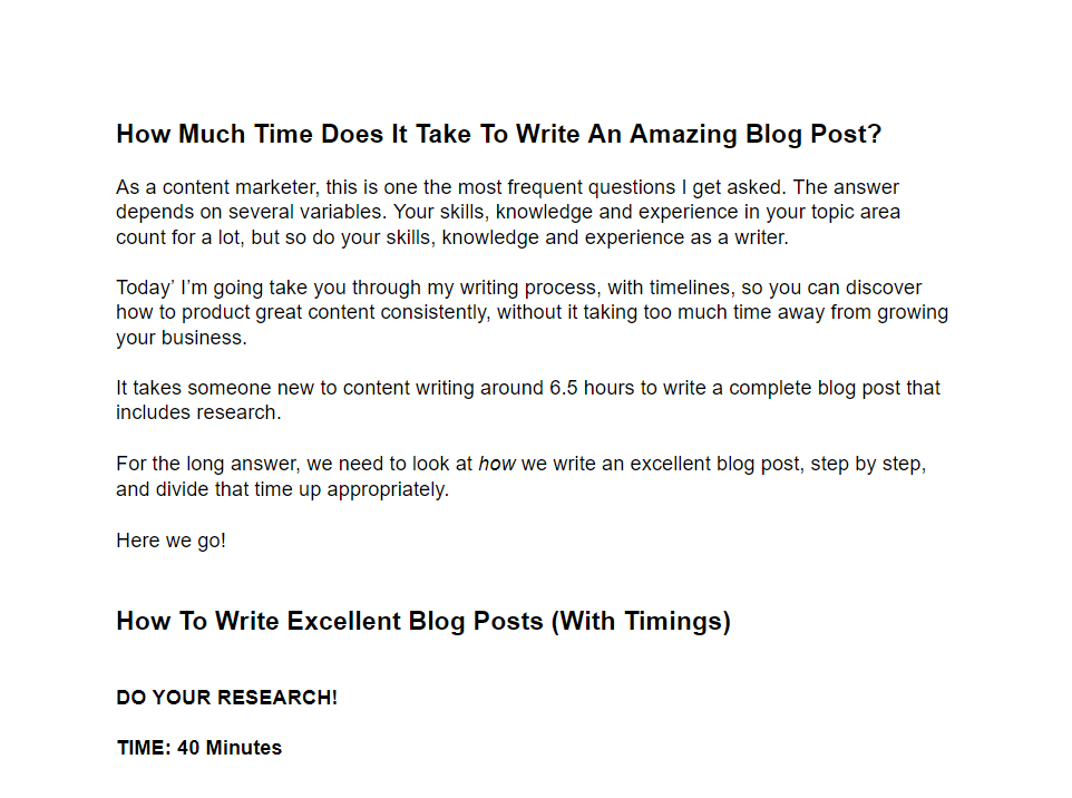 How Long Should You Spend Writing A Blog Post?