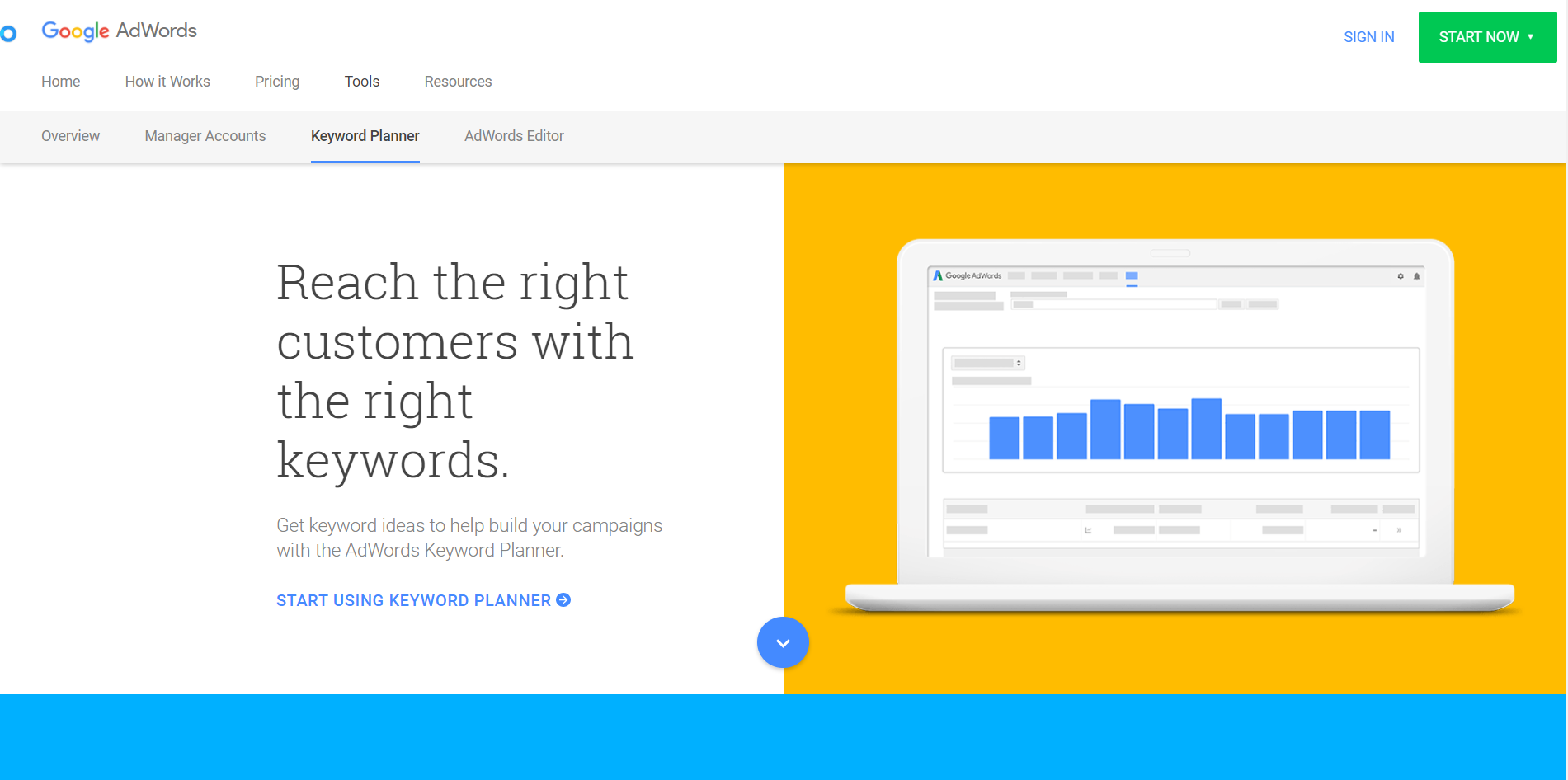 Google Keyword Planner is the go-to tools for keyword research.