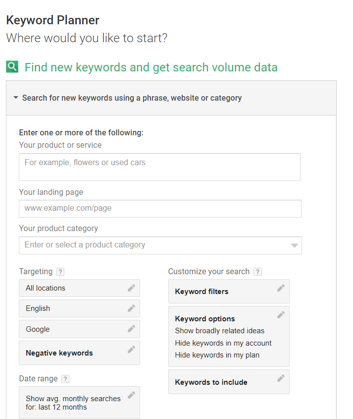 Search New Keyword and Ad Group