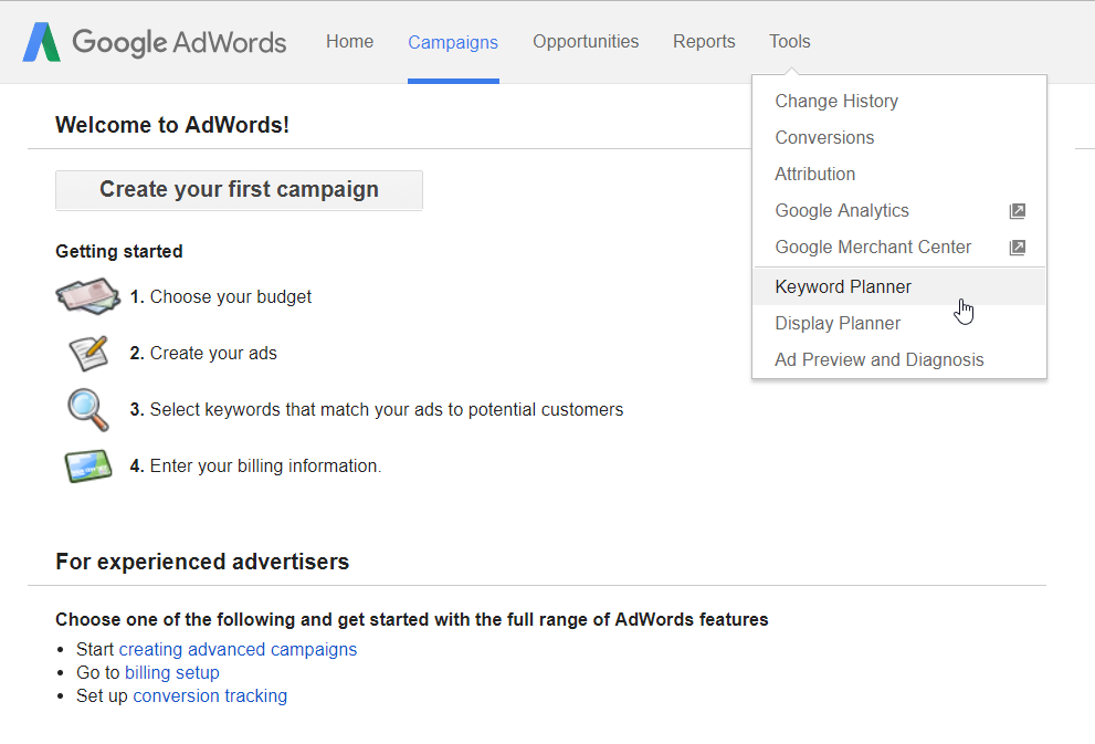 Sign in and Select Keyword Planner