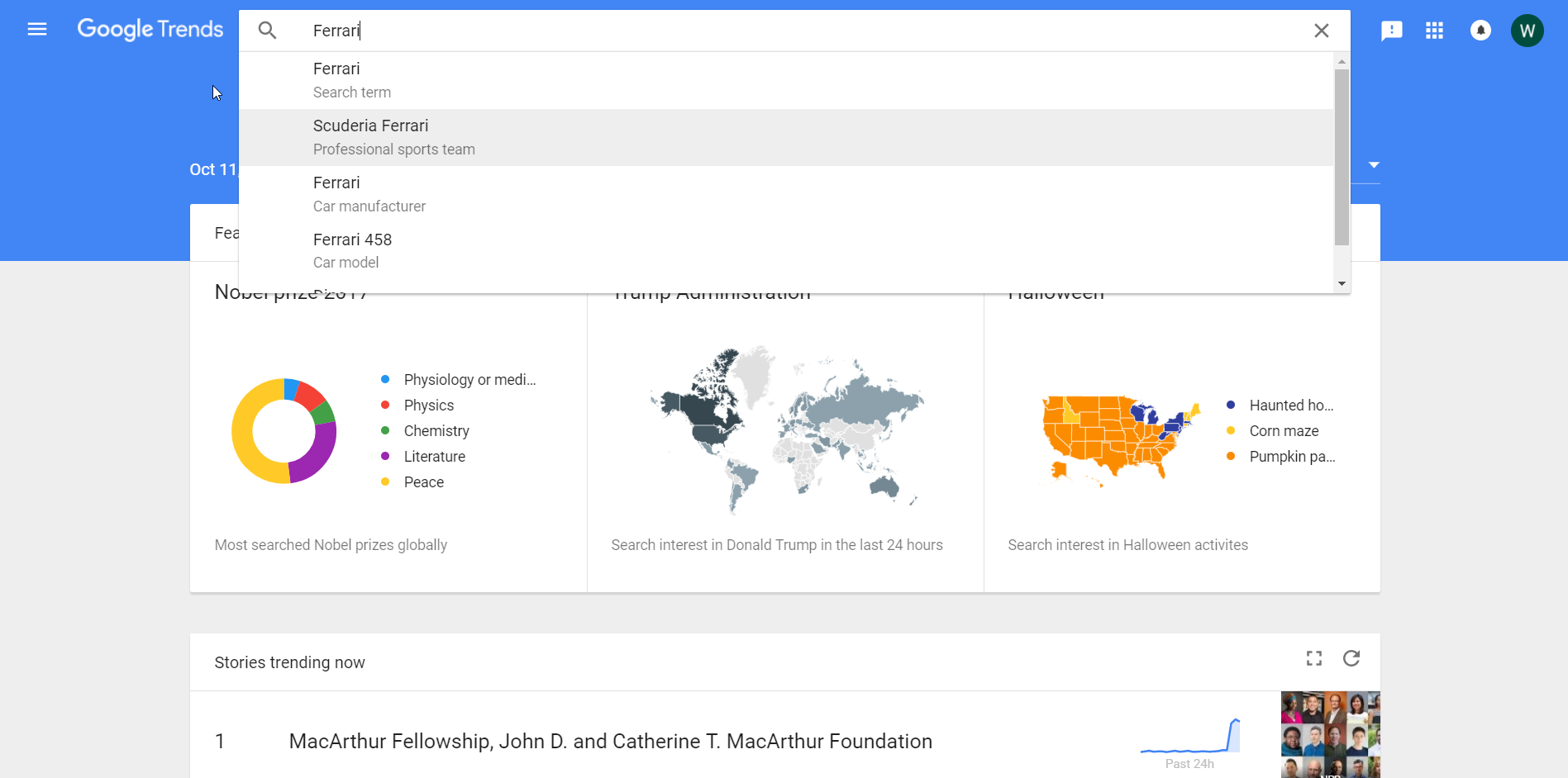 Google Trends Landing Page