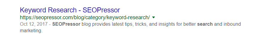 Example of search result on SEOPressor Keyword Research