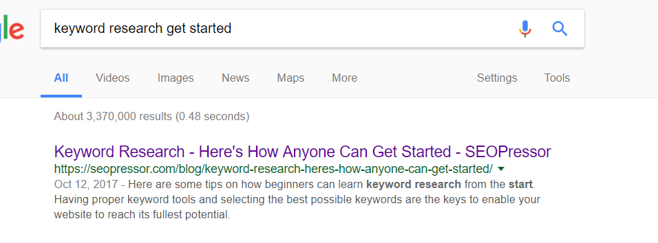 Example of meta description using Keyword Research - Here's How Anyone Can Get Started